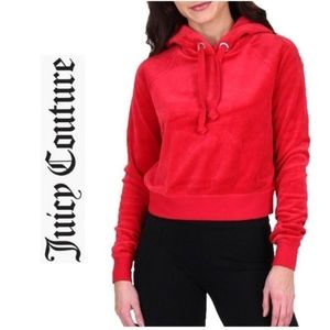 JUICY COUTURE Logo Velour Pullover Hoodie Jacket